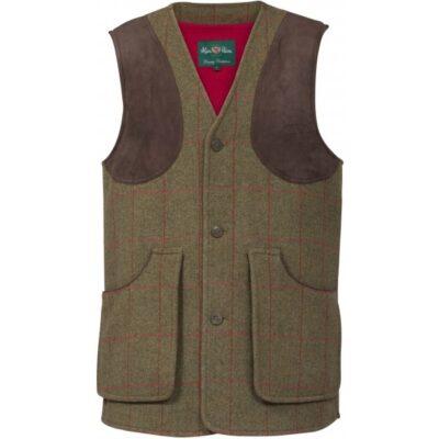 Alan Paine Compton Mens Tweed Shooting Waistcoat - Sage