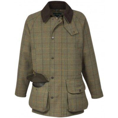 Alan Paine Rutland Mens Tweed Waterproof Membrane Shooting Coat - Dark Moss-0